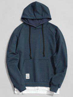 Panel Hem Kangaroo Pocket Hoodie Men Clothes - Purplish Blue 2xl