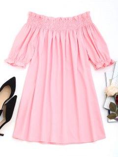 Smocked Panel Off Shoulder Mini Dress - Pink Xl