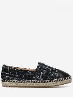 Round Toe Espadrille Sole Flats - Black 40
