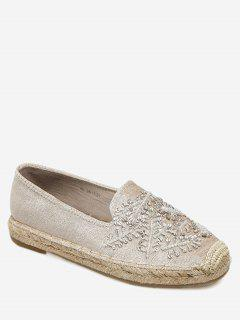 Beaded Round Toe Espadrille Flats - Apricot 39