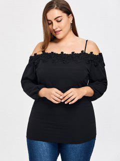Plus Size Crochet Flower Cami Blouse - Black 4xl