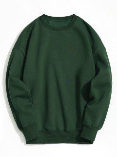 Pullover Fleeced Sweatshirt - Deep Green M
