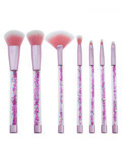 7Pcs Glitter Wand Fiber Hair Makeup Brush Set - Pink