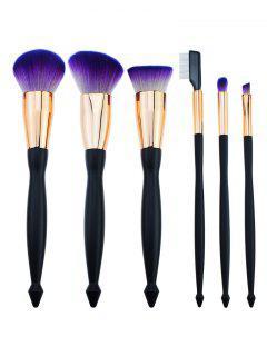 Conjunto De Cepillo De Maquillaje De Pelo Con Mango De Fibra De 6 Piezas - Negro Púrpura
