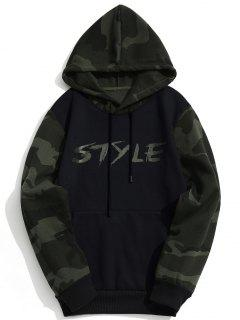 Fleece Style Graphic Camo Hoodie - Black Xl