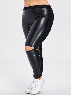 Pantalones Rasgados Del Panel De Cuero De La PU Del Tamaño Extra Grande - Negro 5xl