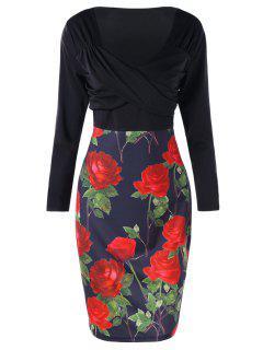 Vestido Ajustado Con Cintura Extragrande En Rosa De Empire - Brillante Negro 5xl