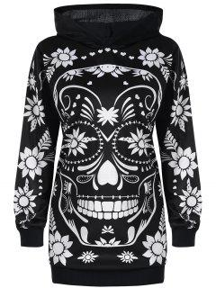 Plus Size Floral Skull Tunika Hoodie - Schwarz 5xl