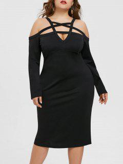 Plus Size Cut Out Strappy Dress - Black 5xl