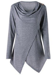 Camiseta Asimétrica De Dobladillo Con Cuello Asimétrico Y Dobladillo - Gris 5xl