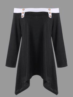 Taille Plus Le T-shirt De L'épaule - Noir 5xl