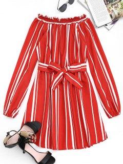 Belted Stripes Off Shoulder Mini Dress - Jacinth M