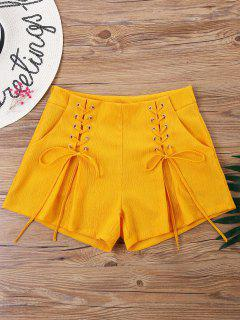 High Rise Lace-up Shorts - Pearl Kumquat S