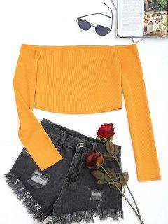 Knitted Cropped Off Shoulder Top - Orange Xl