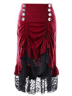 Lace Trim Shirred Haute Jupe Basse - Rouge Vineux  2xl