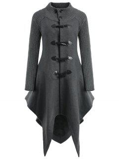 Horn Button Handkerchief Long Wool Coat - Dark Grey 2xl