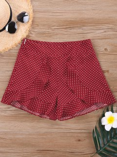 Slit Ruffle Polka Dot Shorts - Red S