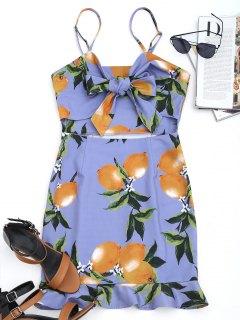 Mini Vestido Con Lazo De Limón Y Lazo - Púrpura Xl