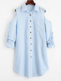 Cold Shoulder Striped Pocket Shirt Dress - Charm L