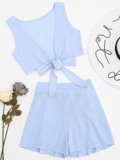 Tied Front Crop Top And Shorts Set - Cloudy M