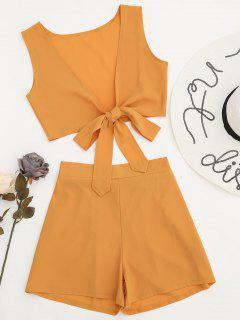 Tied Front Crop Top And Shorts Set - Earthy L