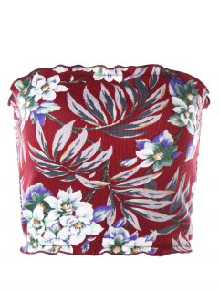 Floral Hawaiian Tube Top - Red L