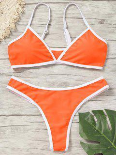 Kontrast Trim Gepolsterte Tanga-Bikini-Set - Fluoreszierende Orange L