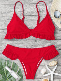 Ruffle Padded Plunge Bikini Set - Bright Red L