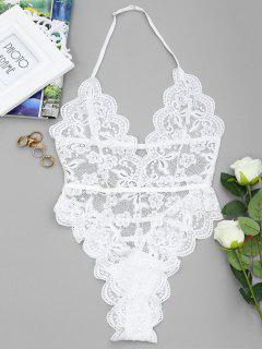 Backless Lace Sheer High Cut Bodysuit - White M