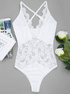 Sheer Lace Plunge Bodysuit - White M