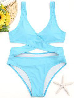 One Piece Cut Out Wrap Swimwear - Lake Blue L