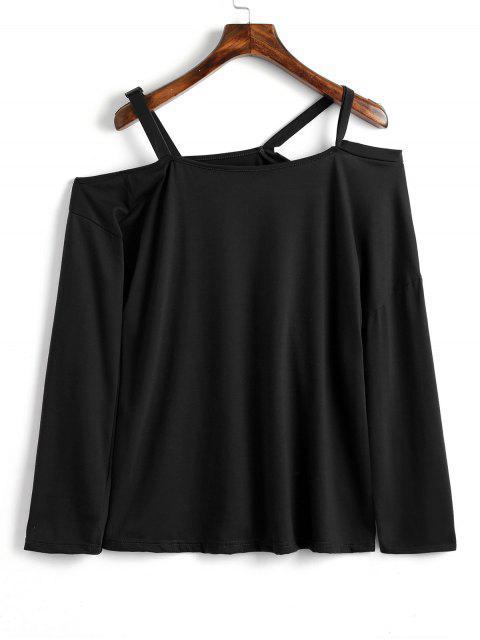 women Contrast Straps Cold Shoulder Top - BLACK XS Mobile