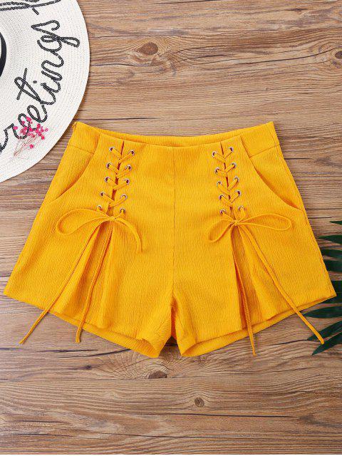 women Double Lace-up Shorts - PEARL KUMQUAT L Mobile