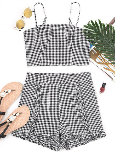 womens Gingham Smocked Camis and Frilled Shorts - CHECKED L Mobile
