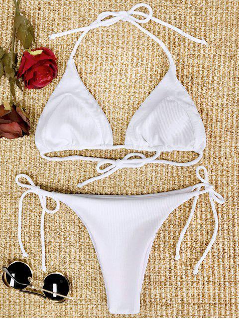 fancy Ribbed String Bikini Set - WHITE S Mobile