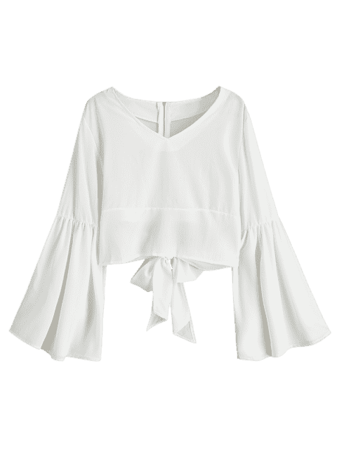 outfit Back Zippered Bowknot Flare Sleeve Blouse - WHITE L Mobile