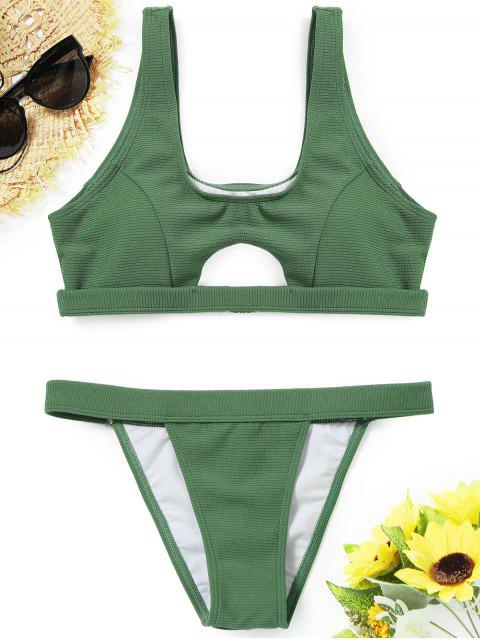 Gerippte Textur ausgeschnitten Bikini Set - GREEN L Mobile