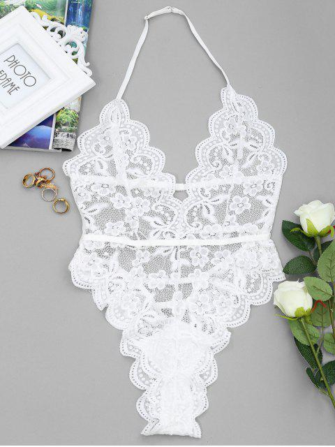 fashion Backless Lace Sheer High Cut Bodysuit - WHITE S Mobile