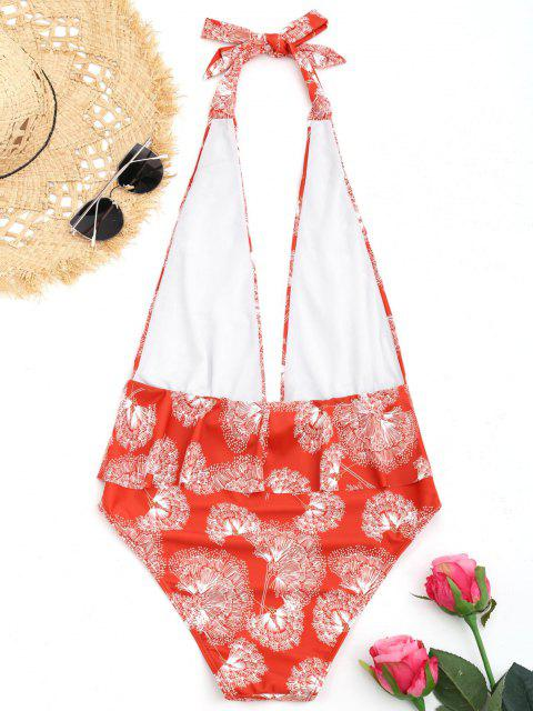 hot Printed Plunging Neck Ruffles Swimwear - RED L Mobile