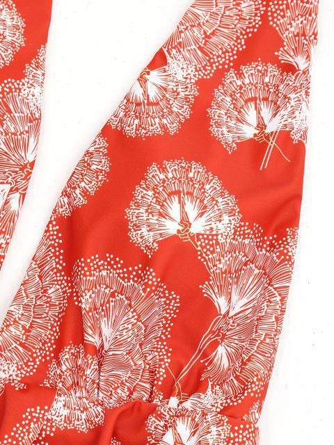 ladies Printed Plunging Neck Ruffles Swimwear - RED XL Mobile