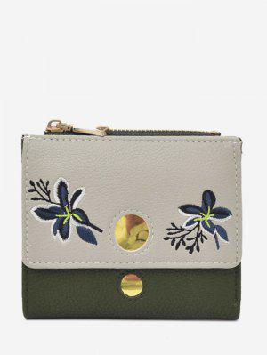 Color Block Flower Embroidery Bi Fold Wallet