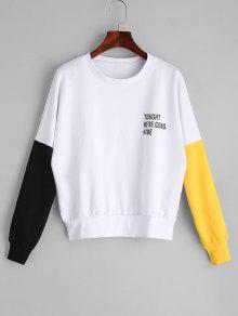Camisola Gráfica Com Letras De Contraste - Branco L