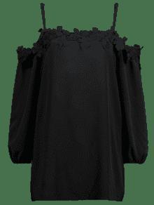 Camis Blusa De Ganchillo De Size Xl Plus Flor Negro dp1gWnxp5