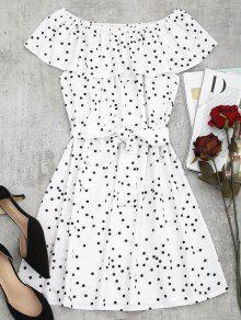 فستان مصغر بلا اكتاف البولكا نقطة  - أبيض S