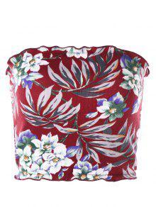 الأزهار هاواي أنبوب الأعلى - أحمر S