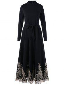 الكروشيه الدانتيل الرسمي تقليم مربوط فستان ماكسي - أسود 2xl