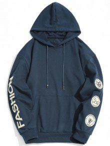 Patch Fashion Graphic Hoodie - Cadetblue 2xl