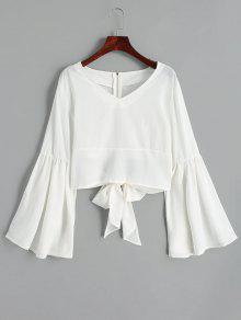 Zurück Mit Reißverschluss Bowknot Flare Sleeve Bluse - Weiß S