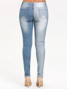 7ebb415df25 29% OFF] 2019 Two Tones Ripped Jeans With Raw Edge In CLOUDY   ZAFUL