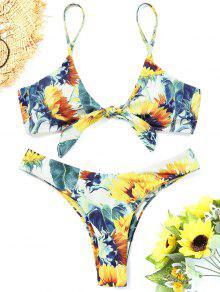 Verknotete Sunflower Thong Bikini Set - Blumen S
